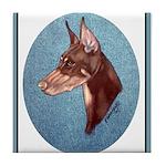 Red Doberman Pinscher Tile Coaster