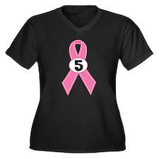Breast Cancer 5 Year Survivor Women's Plus Size V-
