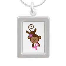 Breast Cancer Ribbon Monkey Silver Portrait Neckla