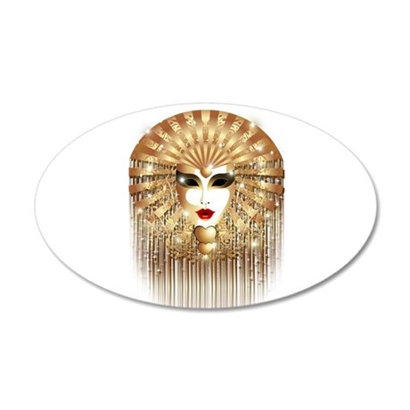 Golden Venice Carnival Mask Wall Decal