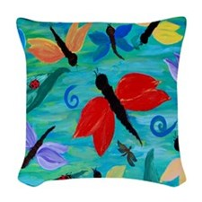 Dragonflies and Lady Bugs Woven Throw Pillow