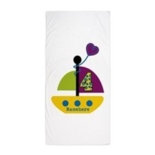 Personalized 4th Birthday Sailboat Beach Towel