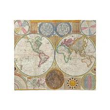 World Map 1794 Throw Blanket