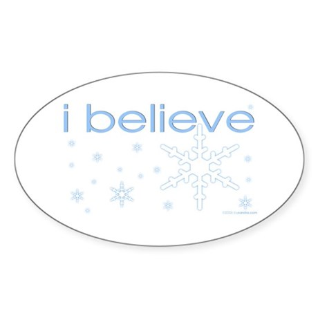 I believe in snow Oval Sticker