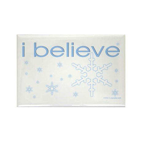 I believe in snow Rectangle Magnet (100 pack)