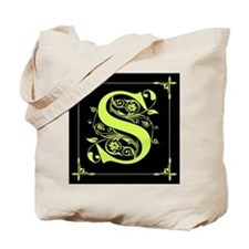 Monogram A to Z Chartreuse Tote Bag