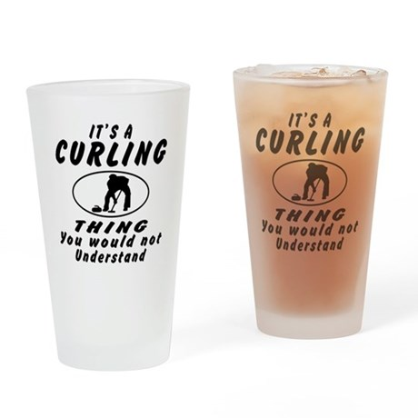 Curling Thing Designs Drinking Glass