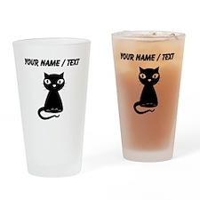 Custom Cartoon Black Cat Drinking Glass