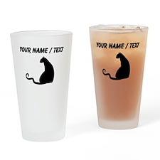 Custom Black Cat Silhouette Drinking Glass