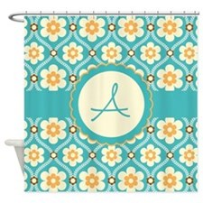 Personalized Turquoise Gold Floral Shower Curtain
