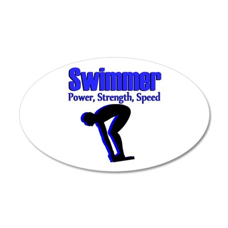 NUMBER 1 SWIMMER 20x12 Oval Wall Decal