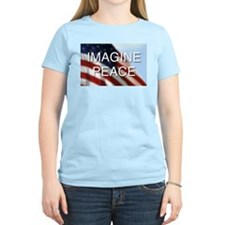 Imagine Peace Women's Pink T-Shirt