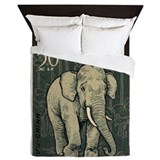 Asian elephants postage stamp Queen Duvet Covers
