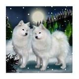 SAMOYED DOGS SNOW MOUNTAIN Tile Coaster