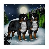 BERNESE MOUNTAIN DOGS SNOW MOUNTAIN Tile Coaster