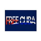 """Free Cuba Bubble Letters"" Rectangle Magnet (10 pa"