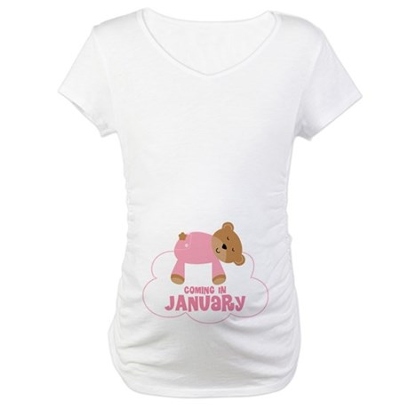 January Due Date Baby Girl Maternity T-Shirt
