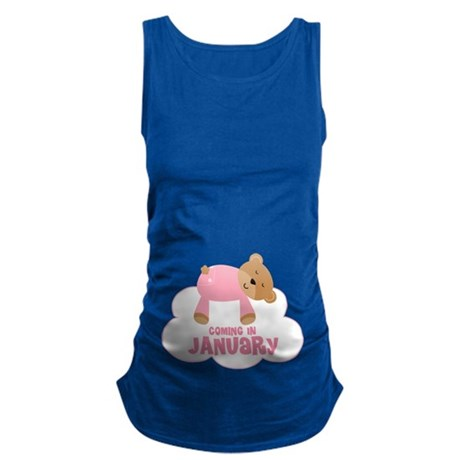 January Due Date Baby Girl Maternity Tank Top