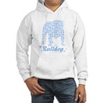 Blue Snowflake Bulldog Hooded Sweatshirt