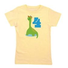 4th Birthday Dino Girl's Tee