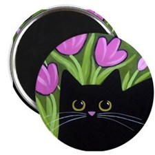 Black CAT Pink Tulips ART Magnet
