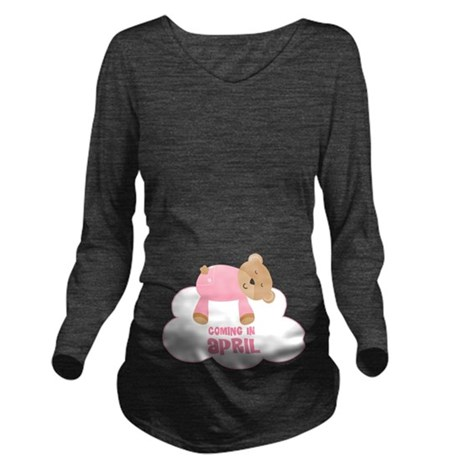 Baby Girl Coming In April Long Sleeve Maternity T-