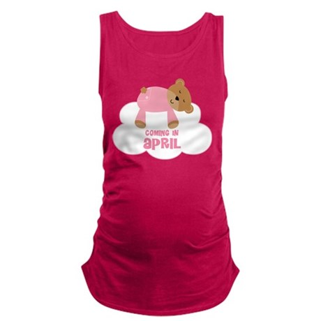 Baby Girl Coming In April Maternity Tank Top