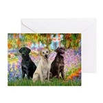 Garden - 3 Labrador Retrievers--Greeting Cards