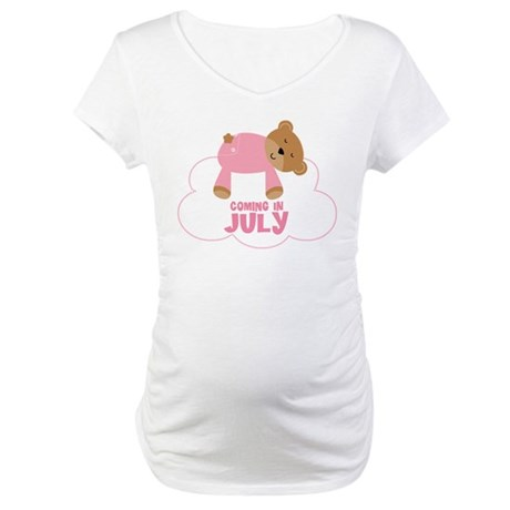 Coming In July Baby Girl Teddy Bear Maternity T-Sh
