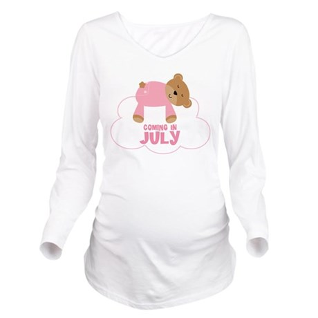 Coming In July Baby Girl Teddy Bear Long Sleeve Ma