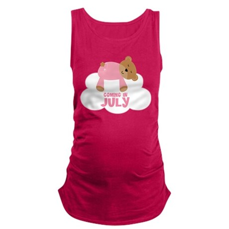 Coming In July Baby Girl Teddy Bear Maternity Tank