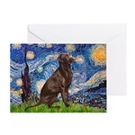 Starry - Choc Labrador Greeting Cards