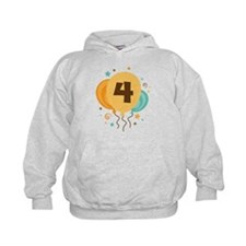 4th Birthday Party Balloon Hoodie