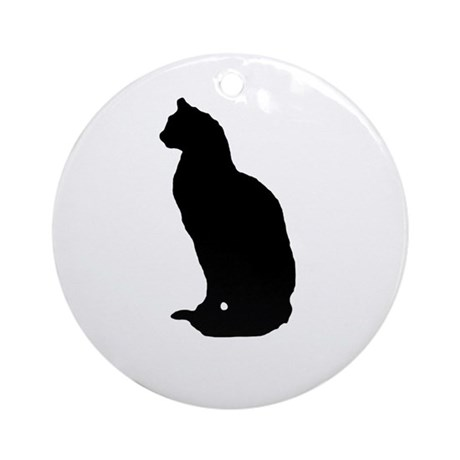Cat Silhouette Ornament (Round)