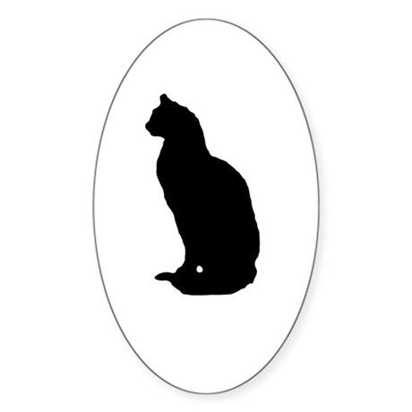 Cat Silhouette Oval Sticker