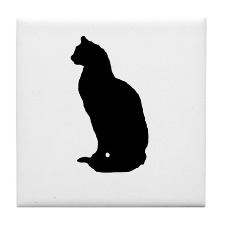 Cat Silhouette Tile Coaster