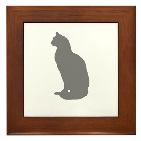 Grey Cat Framed Tile