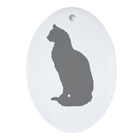 Grey Cat Oval Ornament