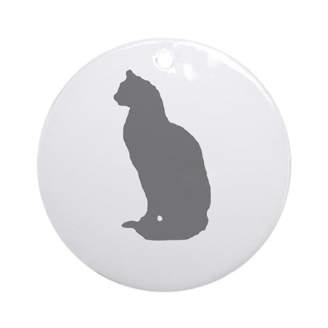 Grey Cat Ornament (Round)