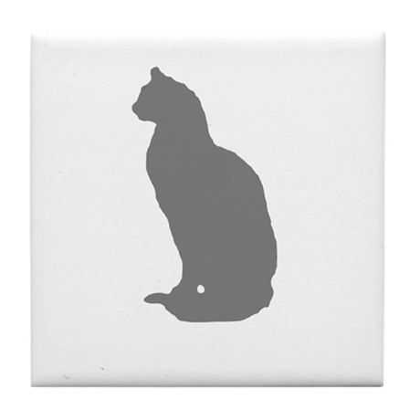 Grey Cat Tile Coaster