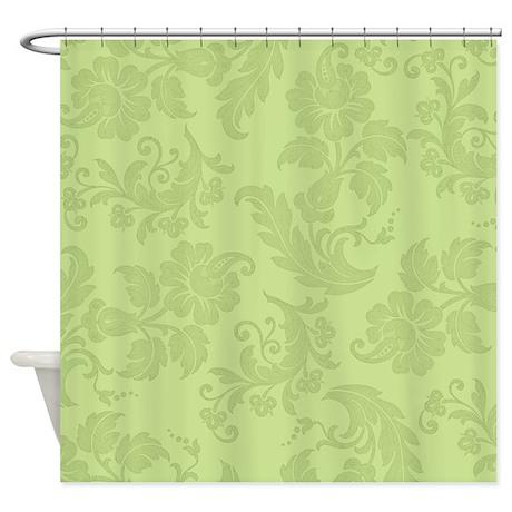 Light Green Floral Pattern Shower Curtain By Marlodeedesignsshowercurtains