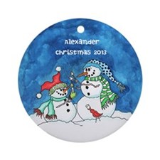 Personalized Snowmen with Marshmellows Ornamen