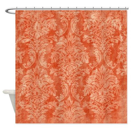 Vintage Orange Floral Pattern Shower Curtain By