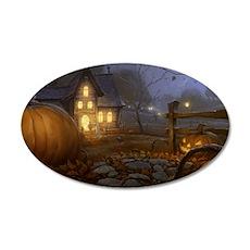 Haunted Halloween Village 35x21 Oval Wall Decal