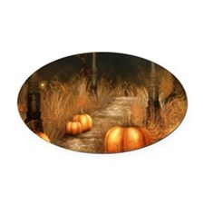 Take a walk in Autumns bounty Oval Car Magnet