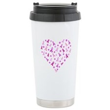 Breast Cancer Pink Ribbon Ceramic Travel Mug