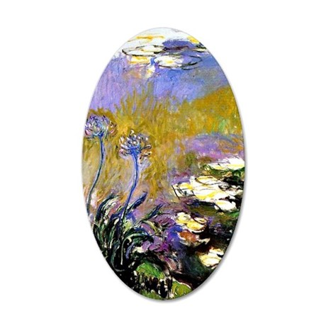 Claude Monet art: Agapanthus 35x21 Oval Wall Decal