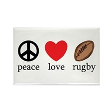 Peace Love Rugby Rectangle Magnet