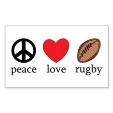Peace Love Rugby Rectangle Decal
