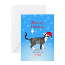 For niece, Meowwy Christmas cat Greeting Cards